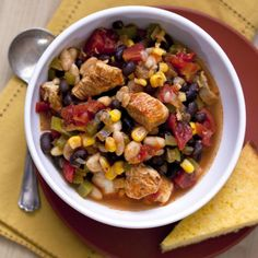 Chicken Chili with Black Beans and Corn Recipe
