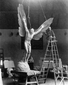 Gutzon Borglum and his sculpture Statue of Aviator, 1919.