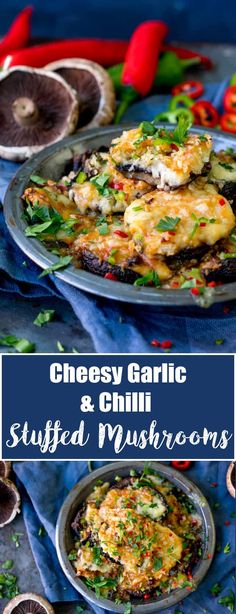 Cheesy Garlic and Chilli Stuffed Mushrooms - a spicy lunch for Meatless Mondays! Filled with a creamy, cheese and garlic sauce, topped with breadcrumbs. Veggie Recipes, Lunch Recipes, Appetizer Recipes, Vegetarian Recipes, Appetizers, Veggie Meals, Vegetarian Appetisers, Cheap Recipes, Savoury Recipes