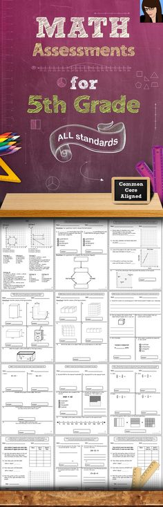This 60+ page assessment bundle contains quick math assessments for every 5th Grade Common Core Math Standard. There are at least 2 assessments included for each standard. These assessments packs are also available for grades 1, 2, 3, and 4!