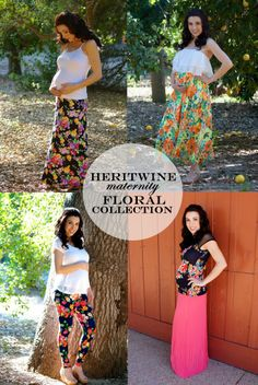 Heritwine Maternity's Floral Collection. Stylish maternity clothes for Spring and a summer at affordable prices.