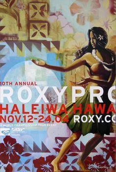 10th Annual @ROXY Pro Haleiwa, Hawaii (surfing poster). Art by @Wade Koniakowsky