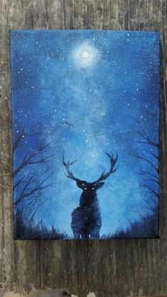 Original Deer Painting, Galaxy Canvas Painting, Mini Original Painting, Moon Art, Space Painting, Forest Painting, Space Canvas Painting by TheMindBlossom