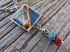 La 'Nadia' Hispanic Mini Ceramic Tile Necklace by FayWestDesigns, $21.00