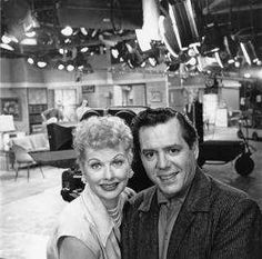 "Lucille Ball with husband Dezi Arnaz on the set of ""I Love Lucy."""