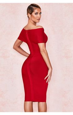 Clothing : Bandage Dresses : 'Clarissa' Red Off Shoulder Bandage Dress Black Off Shoulder Dress, Discount Prom Dresses, Bodycon Dress, Bandage Dresses, Kebaya, Female Form, Stylish, Model, Sky