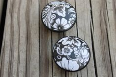 Black and White  Floral Shabby Cottage Chic Print by ReadinginRags, $3.75