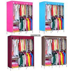 63  u0026 70  Clothes Hanger Rack Shelves Closet Storage Organizer Wardrobe w Cover  sc 1 st  Pinterest & Generic New Double Portable Wardrobe Bedroom Clothes Hanging Storage ...