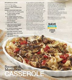 Sausage and Mushroom Casserole Recipe