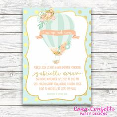 Hot Air Balloon Baby Shower Invitation, Floral French Parisian Chic, Gold Mint and Peach Baby Shower Invite, Printed or Printable Invitation