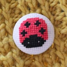 Cross Stitch Lady Bug Button
