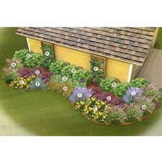 Front Yard Garden Design North/Central Garden Plan -- Great list of some good plants to start a bed in front of a blank wall -