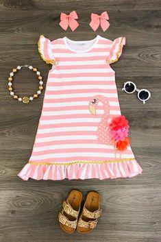 Pink White Stripe Flamingo Dress