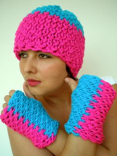 Magenta Pink and Turcoise  Double Spirit Knit Set by GiuliaKnit, $49.00