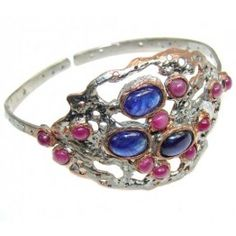 925 SOLID STERLING FINE SILVER BEAUTIFUL BLUE SAPPHIRE & PINK RUBY, TWO TONES BRACELET / CUFF