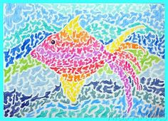 Colored pencil spotted fish