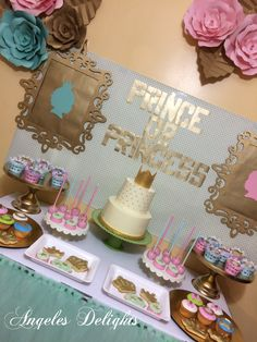 Pink and blue prince or princess gender reveal baby shower party! See more party ideas at CatchMyParty.com!