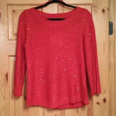 "NWT Anne Klein lipstick red sequined sweater ~~Anne Klein red sequined sweater, 3/4 sleeve (18"") ~~ size medium ~~ MSRP $79. ~~ flat measures, bust 19"", shoulder to hem 24"" ~~ tiny sequins all over for sparkle effect  ~~ turn inside out, hand wash cold, reshape & dry flat Anne Klein Sweaters Crew & Scoop Necks"