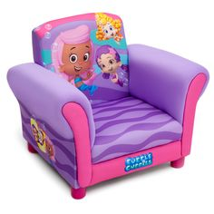 Constructed with a hardwood frame and a padded seat upholstered with a polyester blend, this Bubble Guppies children's chair features color graphics to give your kid's room a right and fun look. The chair can hold up to 100 pounds.