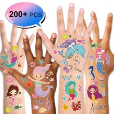 Mermaid Temporary Tattoos (200PCS ), Konsait Under the Sea Party Mermaid Tattoos Body Stickers for Girls Birthday Party Favor Supplies Goodie Bag Filler Great Kids Party Accessories Gift -- Click image for more details. (As an Amazon Associate I earn from qualifying purchases) Large Temporary Tattoos, Party Set, Body Stickers, Mermaid Glitter, Tinkerbell Party, Mermaid Tattoos, Under The Sea Party, Tattoos For Kids, Banner