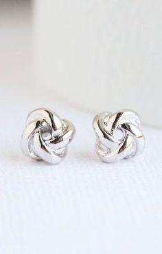White Gold Knot Earrings Knot Earrings White Gold