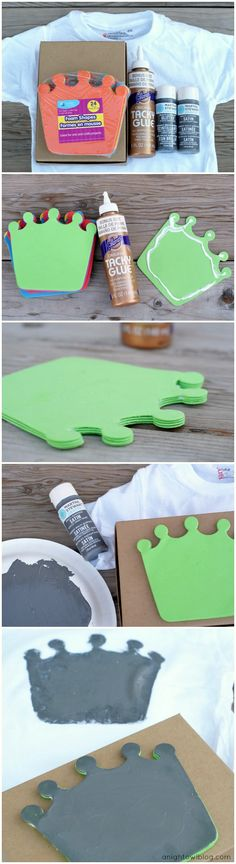 How to make a Dollar Store T-Shirt Stamp for a fun Kid's Royal-Tee