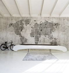 Should this be a wall in my office or in my dining room? Or perhaps a sitting room? Newspaper map of the world. Yes, please.