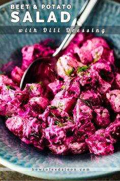 This Roasted Beet and Potato Salad with Dill Dressing is the perfect winter salad, but wonderful year round. Flavors are incredible and it is GORGEOUS in presentation! Beet Salad Recipes, Healthy Recipes, Simple Recipes, Salmon Recipes, Pickled Beet Salad, Dill Dressing, Potato Salad Dill, Red Beets, Winter Salad