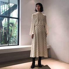 BIOTOP – ビオトープ – High Neck Dress, Dresses With Sleeves, Long Sleeve, Fashion, Turtleneck Dress, Moda, Sleeve Dresses, Long Dress Patterns, Fashion Styles