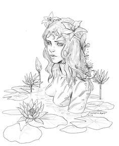 Naiad by JowieLimArt on DeviantArt Fairy Drawings, Mermaid Drawings, Cool Art Drawings, Pencil Art Drawings, Art Drawings Sketches, Realistic Mermaid Drawing, Mermaid Artwork, Fantasy Drawings, Arte Sketchbook