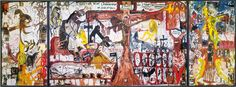 Jonathan Meese The Temptation of the State of the Blessed Ones in 'Archland' 2003 Oil paint on canvas 370 x 1000 cm Jonathan Meese, Love Art, Blessed, Canvas, Artwork, Painting, Image, Color, Bucket