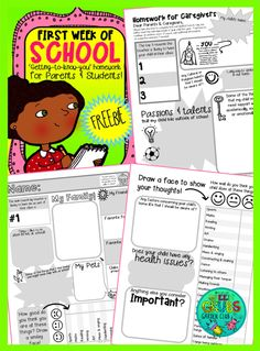 ~FREE PRINTABLE~ These fantastic 'first week of school homework sheets' are perfect for getting to know your new class and their families a little better!  I have never failed to be amazed at the amount of new information I learn from these sheets – it's always interesting to compare the child's sheet, with their parents and also their previous teacher's reports.