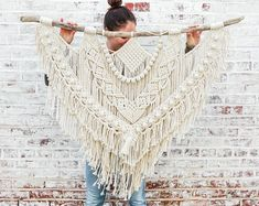 The Dope Rope Large Macrame Wall Hanging // tapestry // macrame decor // boho decor // wall art // bohemian // Made to order - Raumteiler Macrame Wall Hanging Diy, Macrame Art, Macrame Design, Tapestry Wall Hanging, Wall Hangings, Macrame Modern, Macrame Knots, Hanging Art, Macrame Supplies