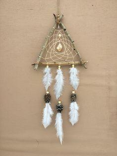 Natural Triangle Dream Catcher | Aspen Wood, Pine Cones, Quartz Crystal and Quartz Crystal | Handmade Rustic Dreamcatcher | by MerakiEffect on Etsy https://www.etsy.com/listing/512443787/natural-triangle-dream-catcher-aspen