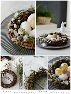 DIY Easter Willow Wreath Nest Centerpiece.