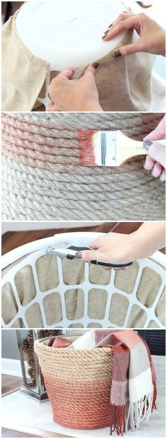 Dollar Store Laundry Basket Turned Chic Metallic Rope Basket diy home crafts Dollar Store Laundry Basket Turned Chic Metallic Rope Basket Dollar Tree Decor, Dollar Tree Crafts, Dollar Tree Baskets, Dollar Store Hacks, Dollar Stores, Dollar Dollar, Diy Simple, Easy Diy, Rope Crafts