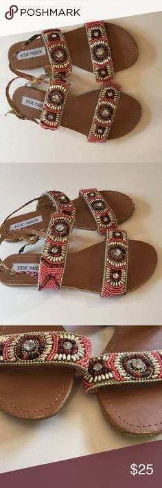 Steve Madden Pink/Silver Beaded Sandals Sz 6.5 Pink and silver metallic beads/sequins/jewels. There is minor scuffs on both shoes on the front toe area. (Picture 3) Steve Madden Shoes Sandals