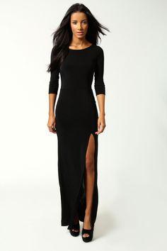 Boohoo Candice Side Split Slinky Maxi Dress