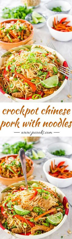 Crockpot Chinese Pork with Noodles | Jo Cooks. Slow cooked Chinese style pork tenderloin tossed with noodles and veggies. These noodles are bound to please the entire family!