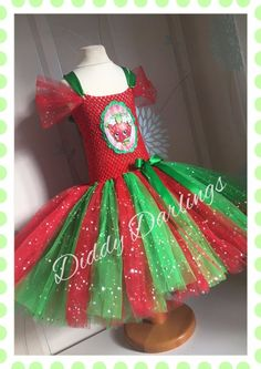 Sparkly Shopkins Tutu Dress Party Sparkle Glitter Girls Strawberry Kiss Costume #DiddyDarlings #CasualFormalParty