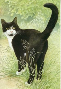 Chesterton in the Garden BY Lesley Anne Ivory. Born Lesley Anne Revill in 1934 in Luton, Bedfordshire, UK she is a well-known feline painter and is perhaps best known for her 'Ivory Cats.' She has illustrated more than 40 children's books!