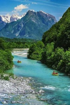 """This is the Soca River, aptly named the """"Emerald Beauty! 😍 Its a 136 km river that flows through western Slovenia and is famous for its emerald green water! 🙌🏽 Soca is actually one. Places Around The World, The Places Youll Go, Great Places, Places To See, Amazing Places, Visit Slovenia, Slovenia Travel, Slovenia Info, Bled Slovenia"""