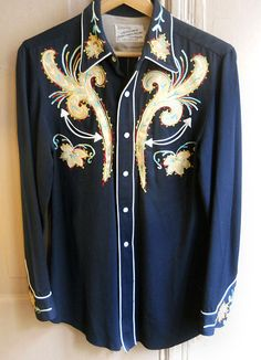 1940's Black Wool Gabardine Western Shirt w/ Multicolored Embroidery, Suede Appliques, Angled Arrow Pockets, and Glass Snaps.