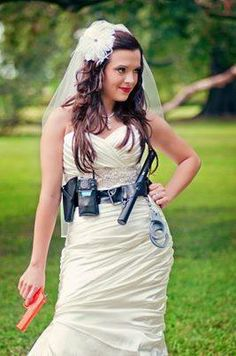 cop wife picture with duty belt and a pink gun ; Police Engagement Photos, Engagement Pictures, Wedding Pictures, Cute Wedding Ideas, Wedding Trends, Wedding Inspiration, Police Wedding, Cop Wife, Wedding Poses