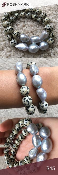 Set of Bracelets Set of (2) beautiful Dalmatian Jasper stone bracelets. Beaded with real freshwater pearls. Dalmatian Jasper Dalmatian jasper is used to lessen or remove disillusionment, increases loyalty and is beneficial for long term relationships. Use it as a protection from nightmares, depression, and negative thinking. Jewelry Bracelets