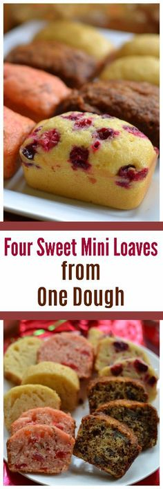 Four Sweet Mini Loves from One Dough Four Sweet Mini Loaves from One Dough Mini Loaf Cakes, Mini Loaf Pan, Bundt Cakes, Layer Cakes, Mini Tortillas, Loaf Recipes, Cake Recipes, Epicure Recipes, Easy Christmas Treats