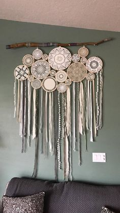 Vintage doily dreamcatcher wall hanging doily dreamcatcher