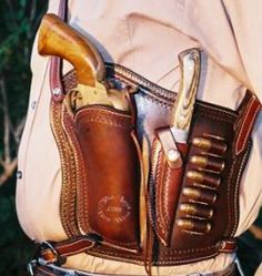 Old West Shoulder Holster - custom leather holster hand made by the last best west The shoulder holster design is perfect for conceal & carry permit holders Western Holsters, Cowboy Action Shooting, Gun Holster, 1911 Holster, Custom Guns, Rifles, Leather Projects, Guns And Ammo, Leather Tooling