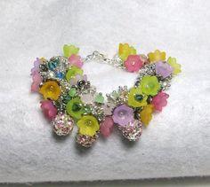 Secrets of My Garden - Jewelry creation by Linda Foust Garden Items, Tulips Flowers, Flower Jewelry, Bead Caps, The Secret, Swarovski Crystals, Jewelry Making, Jewels, Beads
