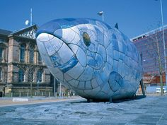 The Big Fish (aka the Salmon of Knowledge) by John Kindness, Belfast. mosaic sculpture northern ireland